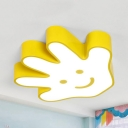 Cartoon Smiling Palm Ceiling Mount Light Acrylic Stepless Dimming/Third Gear/White LED Flush Light in Yellow for Nursing Room