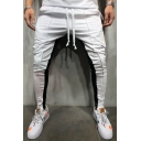 Men's Fashion Colorblocked Side-Striped Drawstring Waist Skinny Pencil Pants