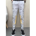 Fashion Color Block Flap Pocket Drawstring Waist Elastic Cuff Slim Cut Men's Casual Cotton Cargo Pants