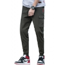 Men's Fashion Letter 2008 Pattern Flap Pocket Slim Fit Casual Cargo Pants