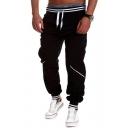 Hot Fashion Contrast Stripe Trim Drawstring Waist Casual Sports Joggers Cotton Sweatpants for Men