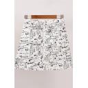Summer Hot Popular Street Letter Graffiti High Rise Mini A-Line Skirt for Girls
