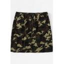 New Fashion Army Green Camo Printed Flap Pocket Side Mini Bodycon Skirt