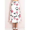 Womens Summer Hot Popular White Floral Printed Maxi A-Line Skirt