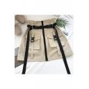 Girls Cool Street Style Buckled Waist Flap Pocket Zipper Front Mini Military A-Line Skirt