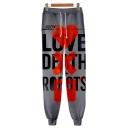 Popular Fashion Letter LOVE DEATH ROBOTS Print Drawstring Waist Grey Cotton Sport Casual Joggers Sweatpants