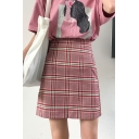 Girls Preppy Style Red Check Printed High Rise Mini A-Line Skirt