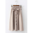 Girls Preppy Style Classic Plaid Printed Bow-Tied Waist Button Down Midi A-Line Skirt