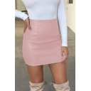 Womens Stylish High Rise Simple Solid Color Mini Sexy Bodycon PU Skirt