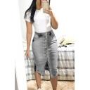 Hot Fashion Womens Sexy Split Front Button Down Midi Bodycon Denim Skirt