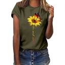 Butterfly Sunflower Pattern Round Neck Short Sleeve Loose Relaxed T-Shirt