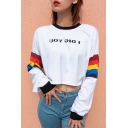 Womens Cool Simple Letter I DIG YOU Rainbow Long Sleeve White Crop Sweatshirt