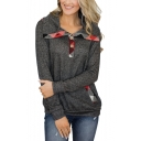 Womens Unique Plaid Patched Button Front Turn-Down Collar Long Sleve Casual Sweatshirt