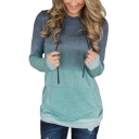 Womens Trendy Ombre Color Long Sleeve Loose Fit Hoodie