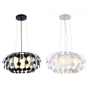 3-Light Drum Shade Hanging Lamp Modern Simple Glass Shade Pendant Lighting in Black/White