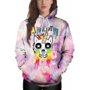Funny Cartoon Crying Unicorn Pattern Purple Sport Casual Hoodie