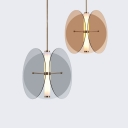 Glass Circular Sheet Hanging Pendant Contemporary LED Amber/Smoke Suspended Lamp with Inner Acrylic Shade, White Light