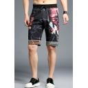 Cool Fashion Stripes Wolf Printed Drawstring Waist Black Cotton Casual Shorts for Men