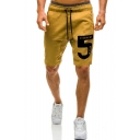 Summer Trendy Letter 5 Printed Drawstring Waist Men's Casual Relaxed Sports Sweat Shorts