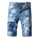 Men's Fashion Popular Ripped Detail Stretch Fit Light Blue Denim Shorts