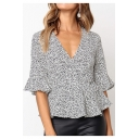 Summer Popular White Polka Dot Printed Surplice V-Neck Ruffled Chiffon Blouse