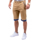 Men's Summer Fashion Contrast Rolled Cuffs Cotton Casual Chino Shorts