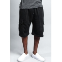Men's Summer Fashion Flap Pocket Drawstring Waist Casual Relaxed Cargo Sweat Shorts
