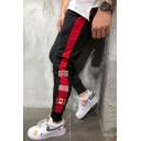 Men's New Fashion Flag Patched Contrast Tape Side Drawstring Waist Casual Sweatpants Pencil Pants