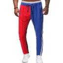 Men's Cool Fashion Colorblock Patched Zipped Pocket Drawstring Waist Casual Cotton Sweatpants