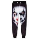 Men's Fashion Popular 3D Clown Printed Black Loose Fit Casual Joggers Sweatpants