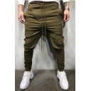 Men's New Fashion Solid Color Drawstring Waist Dropped Inseam Casual Pencil Pants