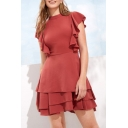 Womens Fashion Red Mock Neck Ruffled Hem Plain Mini A-Line Dress