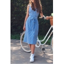 Summer Comfort Cotton Fashion Vertical Stripe Square Neck Sleeveless Tied Waist Button Down Midi Dress