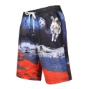 Men's Fashion 3D Moon Astronaut Pattern Black Drawstring Waist Beach Shorts Swim Trunks with Mesh Liner