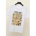 Funny Cartoon Letter WHO'S WHO Pattern Cotton Short Sleeve Tee