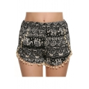 Womens Trendy Ethnic Style Tribal Elephant Print Pompom Hem Black Beach Shorts