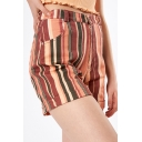 Womens High Rise Fashion Vertical Striped Printed Rolled Hem Fitted Shorts