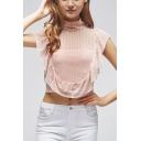 Summer Womens High Neck Sexy Cutout Back Ruffled Hem Crop Mesh Top