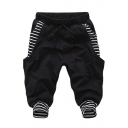 Unisex Summer Fashion Striped Pattern Drawstring Waist Cotton Blend Casual Sweat Shorts