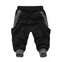 Unisex Summer Fashion Striped Pattern Drawstring Waist Cotton Blend Casual Sweat Shorts