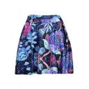 Fashion Digital Galaxy Floral Pattern Mini Blue Pleated Skater Skirt
