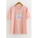 Funny Cartoon Figure Print Basic Short Sleeve Pink Tee for Girls