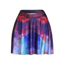 Spring and Autumn Popular Digital Nebula Galaxy Print Mini A-Line Skater Skirt