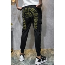 Men's New Fashion Letter Embroidery Pattern Double Flap Pocket Front Drawstring Waist Black Casual Sports Pants