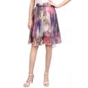 Womens Fancy Purple Floral Print Elastic Waist Midi Chiffon A-Line Beach Skirt