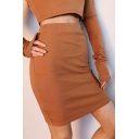 New Stylish Womens Solid Color Knitted Mini High Waist Bodycon Skirt