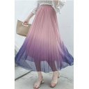 Girls Stylish Ombre Color High Waist Maxi Mesh Pleated Skirt