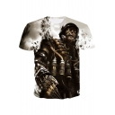 New Stylish Cool 3D Skull Figure Printed Round Neck Short Sleeve Grey Tee