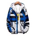 Guys Fashion Unique Irregular Stripe Colorblock Long Sleeve Zip Up Hooded UV Protection Jacket