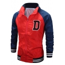 Mens Red Simple Letter Logo D Print Color Block Stand Collar Zip Up Track Jacket